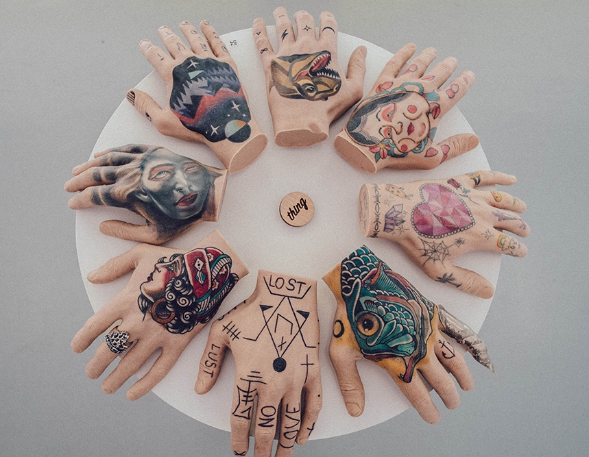 A selection of tattooed silicone hands from my 'Thing Gallery' exhibition.