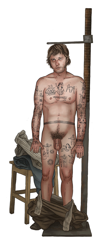 Isaac Comer, aged 31, undergoing inspection in Hobart Town, 1845. Picture: Convict Tattoos: Marked Men and Women of Australia
