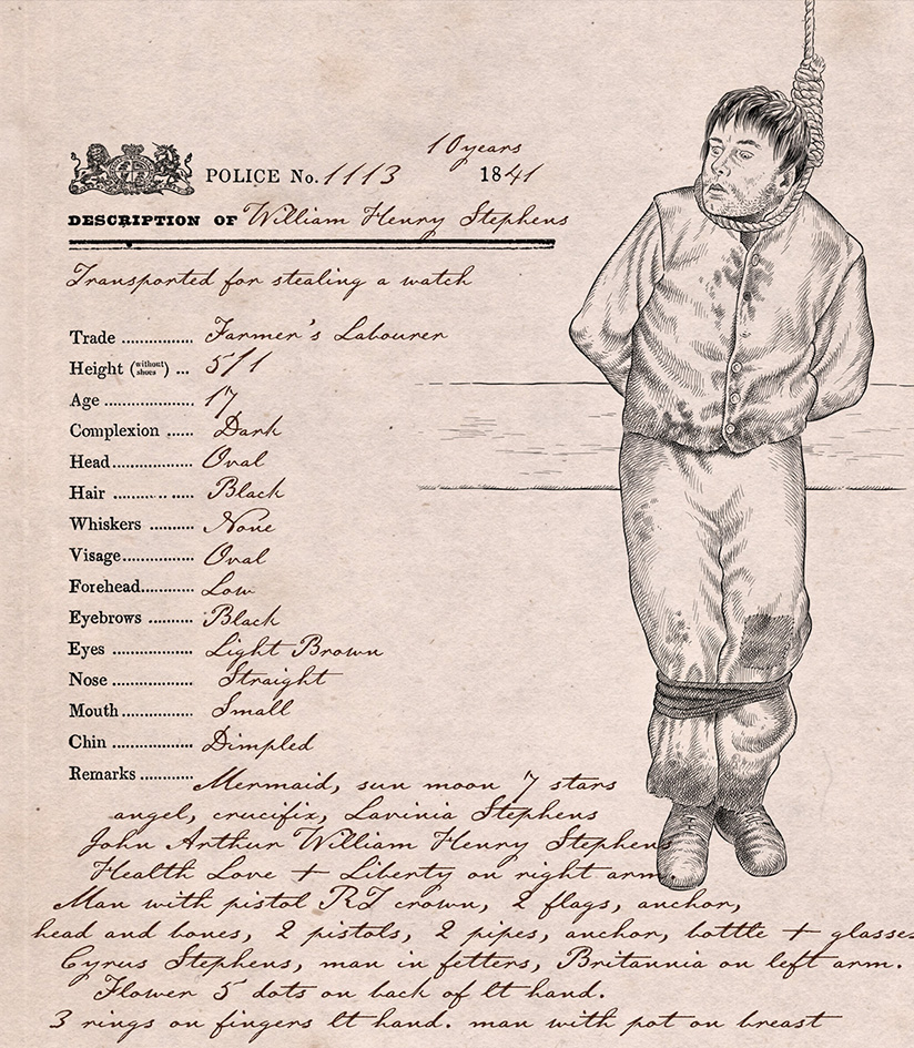 William Henry Stephens. Picture: Convict Tattoos: Marked Men and Women of Australia