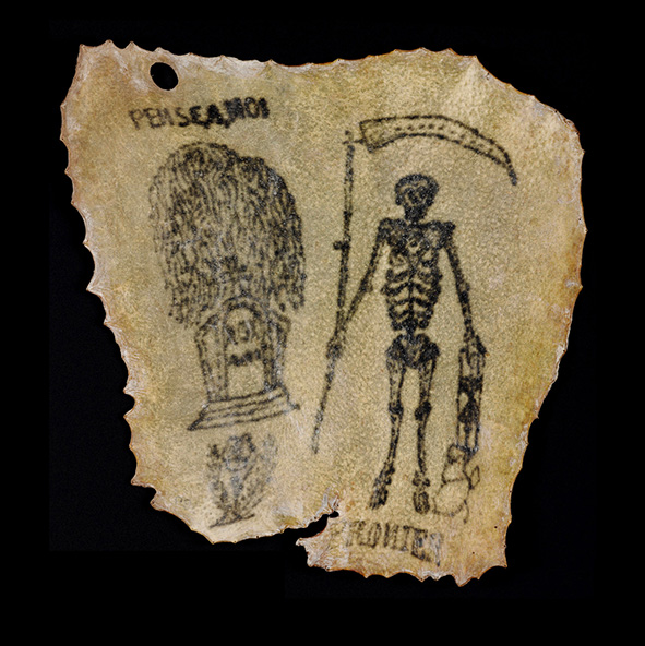 Tattooed human skin, believed to be French, Circa 1850-1900. Source: Convict Tattoos: Marked Men and Women of Australia. Image: Science & Society Picture Library.
