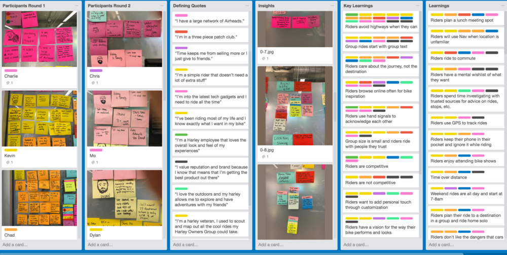 Once I've started the affinity mapping process of collecting user behaviors, goals, and workflows, I create a Trello Board to capture my learnings and key insights. These are color coded to match the sticky colors of the participants. If I have learnings with more than 1 pattern, they are in learnings, if there are more than half, I include them in the Key Learnings. This way, I can prioritize the learnings to frame the problems.