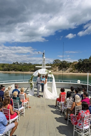 Hold your Wedding on the Deck of Hauraki Blue,    A beautiful wedding on the Hauraki Blue Cruises in Auckland, New Zealand.