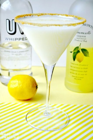 Lemon Meringue Martini.    A combination of lemoncello and whipped cream flavored vodka makes for a delectable drink.