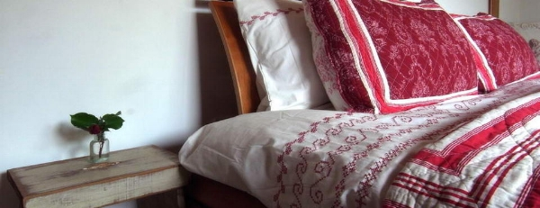 Handmade Linens at Observation Lodge, Stewart Island, New Zealand.