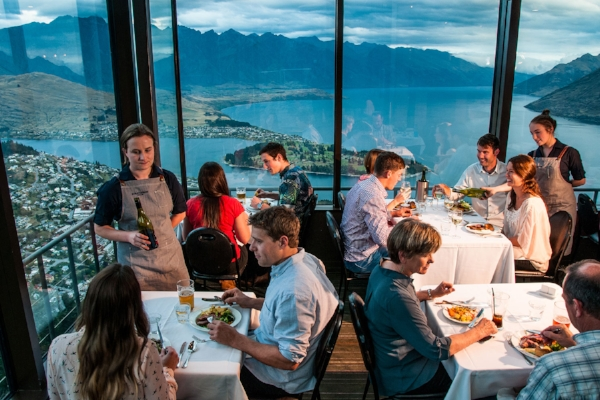 Dinner at the top of Skyline Rides, Queenstown, New Zealand.