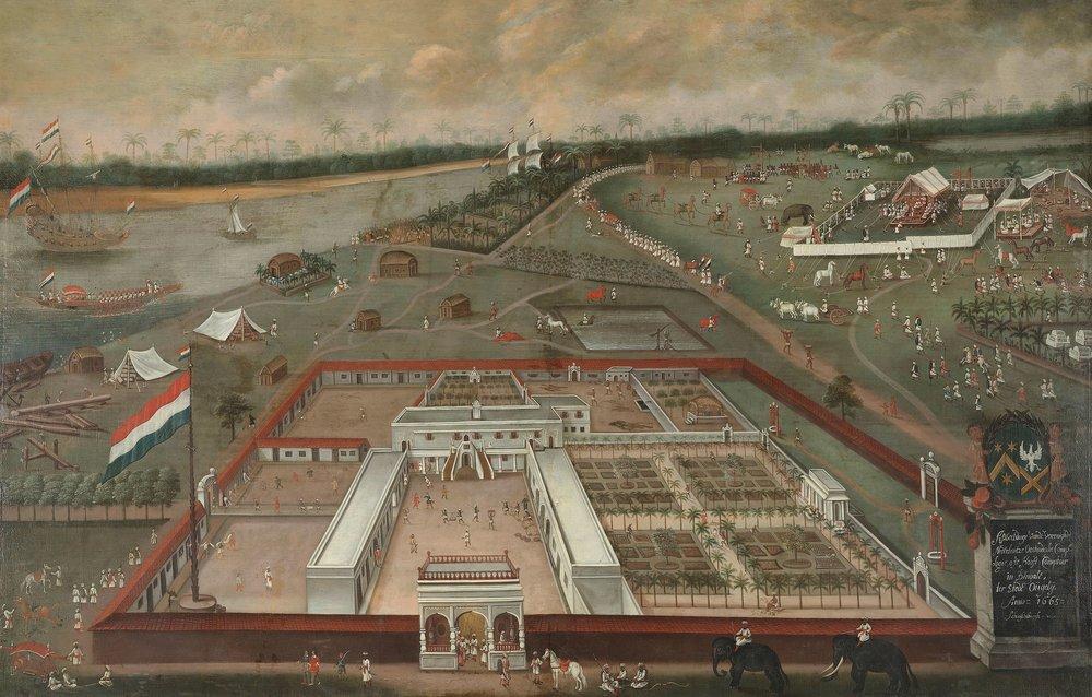 Trade lodge of the VOC in Hooghly, Bengal , by  Hendrik van Schuylenburgh , 1665