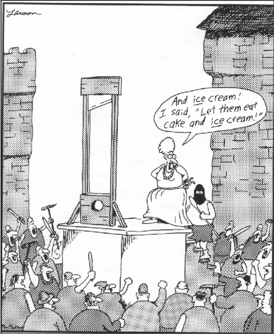 """Figure 1. Gary Larsen, Cartoon depicting """"Marie Antoinette's last-ditch effort to save her head."""" The Far Side. Accessed at:    http://www.grin.com/en/doc/279873/manipulating-maria-marie-antoinette-s-image-from-betrothal-to-beheading"""