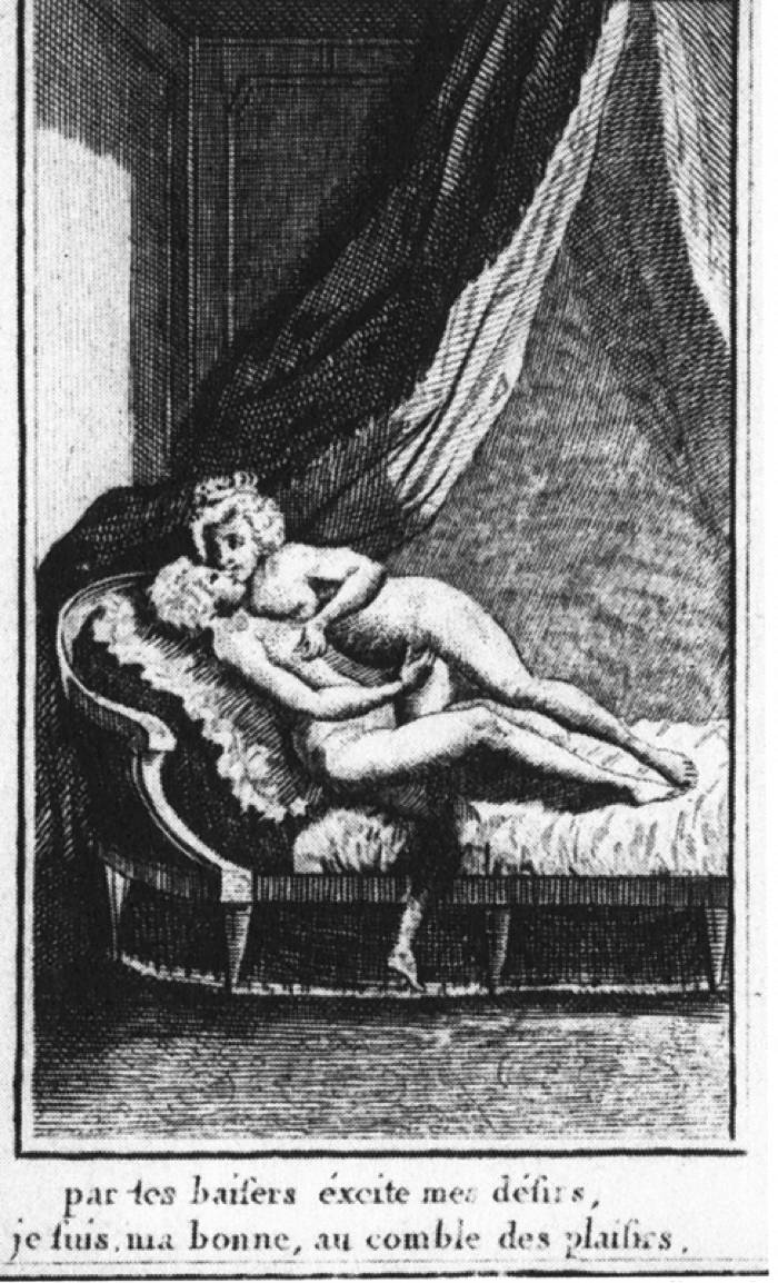 """Figure 2. Typical lesbian depiction involving Marie Antoinette and the duchess of Pequigny. Louis Binet. From Marie-Jo Bonnet, Les Deux Amies (paris: Éditions Blanche, 200). Accessed at    http://sappho.fromthesquare.org/?p=75    Text reads: """"With your kisses, excite my desires, I am, my darling, at the height of pleasure."""""""