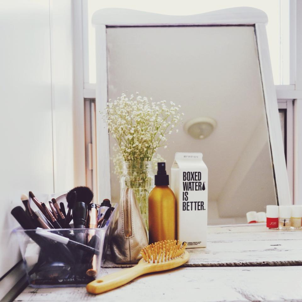 Pictured above, Elizabeth Arden Makeup Case, Boxed Water, Joe Fresh Nail Polish.