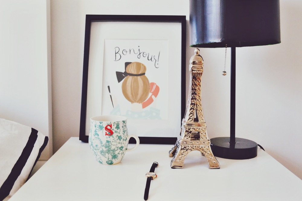 "Pictured above,""BONJOUR"" Print, Homegrown Monogrammed Mug, Watch, Eiffel Tower , DIY painted Lamp, Similar."