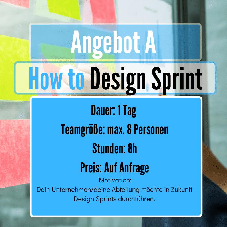 Wie nutze ich ein Design Sprint für mein Team? - Du hast schon einmal von der Design Sprint Methode gehört, weißt aber nicht, ob ein Design Sprint Deinem Unternehmen Vorteile bringt?Dein Unternehmen möchte in Zukunft Design Sprints als innovative Methode des Wachstums anwenden? Lerne mit uns, was einen Design Sprint ausmacht! Wir beraten Dich und Dein Team in Aufbau, Durchführung und Ablauf von Design Sprints anhand der Google Design Sprint Best Practices. Nach unserem Workshop seid Ihr startklar für Euren ersten Sprint Lauf!