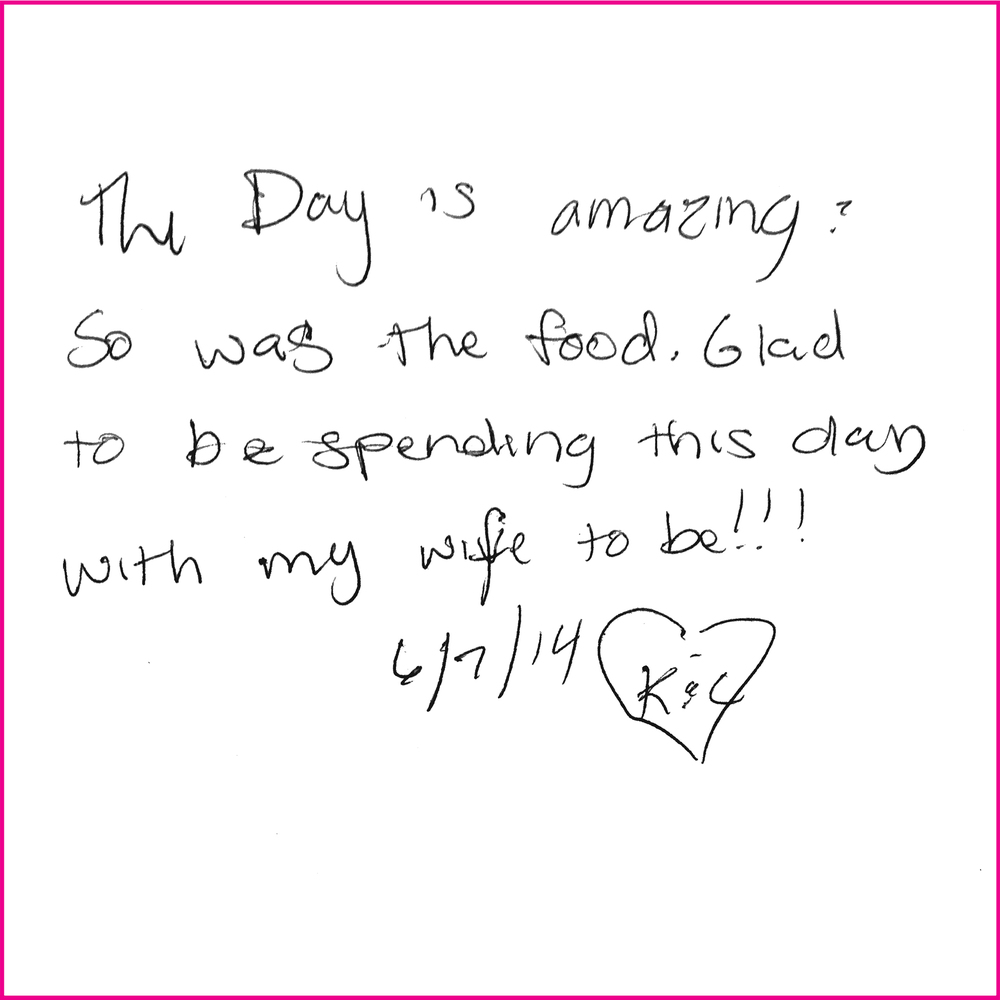 This day is amazing. So was the food. Glad to be spendingthis day with my wife to be!!! 6/7/14 K+L