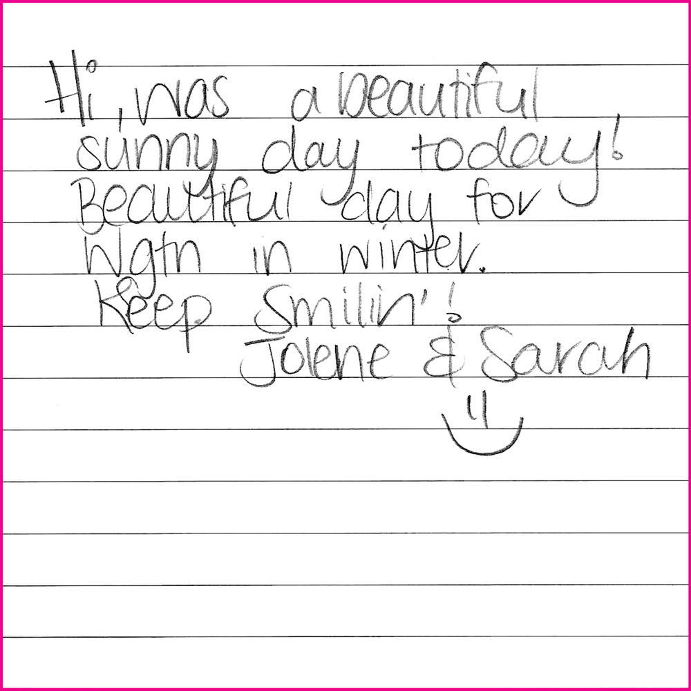 Hi, was a beautiful sunny day today! Beautiful day for Wgtn in Winter. Keep smilin'!   Jolene & Sarah