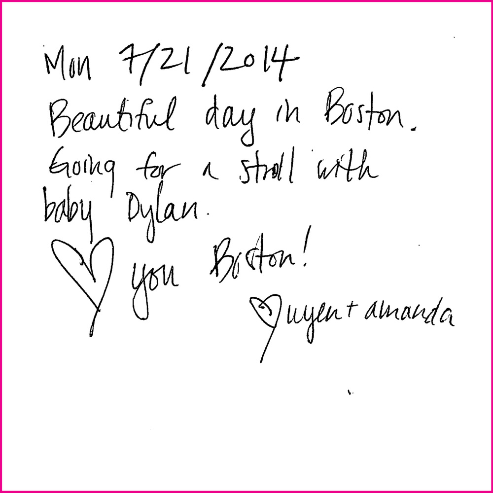 Mon 7/21/2014  Beautiful day in Boston. Going for a stroll with baby Dylan.  <3 you Boston!  <3 Uyen + Amanda