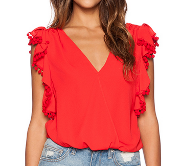 Dorothy Ruffle Top by Jay Han ($55) - Everything form the color of this top to the deep neck line are sheer perfection! I would pair this top with white denim, or a pair of printed shorts. To me this would be the perfect date night outfit to wear in warmer months.