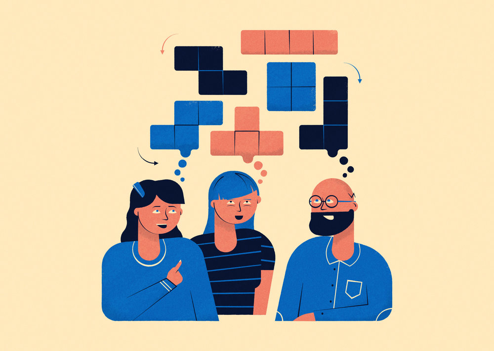 Above /  New Scientist -  Three people had their brains wired together so they could play Tetris
