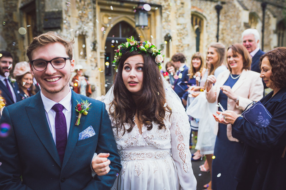 Beautiful Confetti Image of Annie & Calum Worth wedding at Dunmow Church