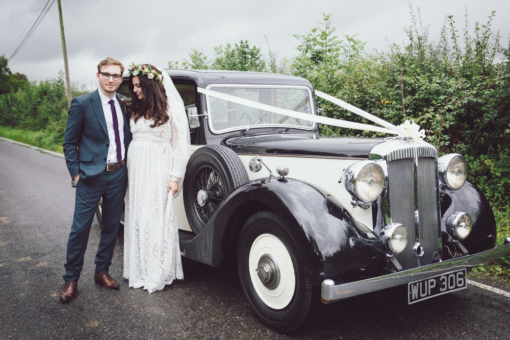 Image of Annie & Calum Worth with their Daimler Mayflower car WUP306, Dunmow church wedding
