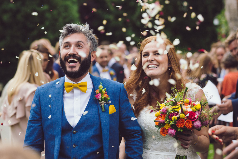 Confetti Shot of Tash & Nick's wedding at Notley Tythe Barn