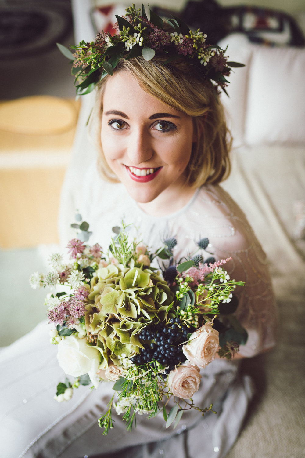 Image of Annie & Calum Worth boho style wedding at Dunmow Church