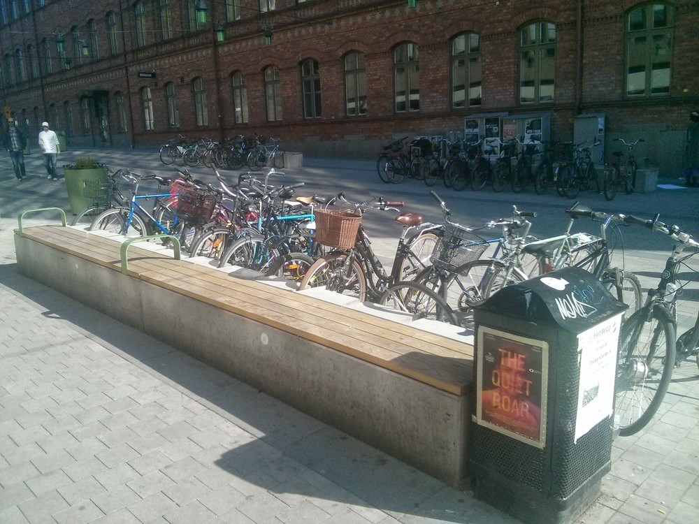 A Bicycle-friendly bench or a human-friendly bicycle rack? Hornstull, Stockholm