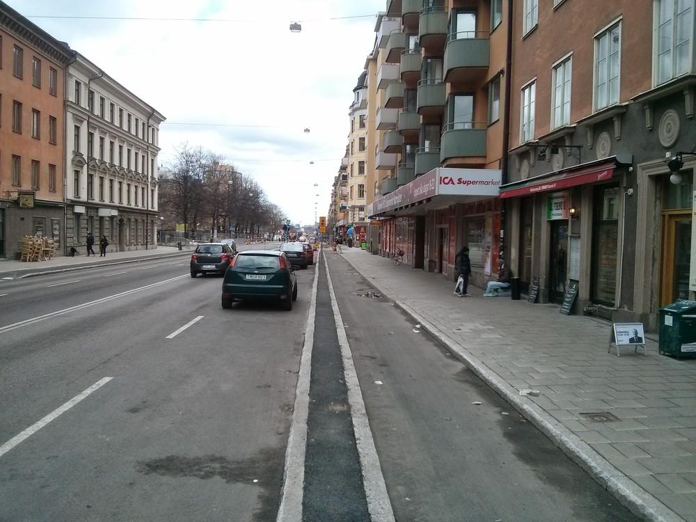 The new bike lane in Folkungagatan