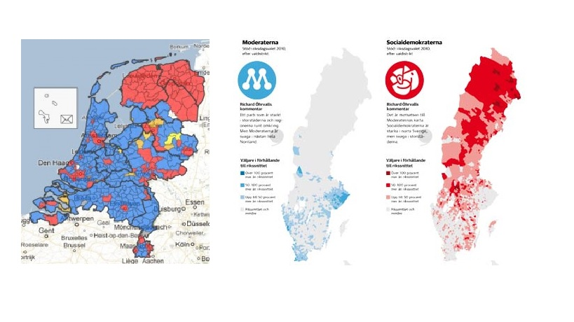 Source: Netherlands WI (2012), Sweden Dagens Nyheter (2012) (all maps show the outcome of their country's last election, in all maps Liberals are blue and Social-democrats red)