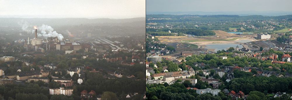 Phönix Lake, before and after (Source: Bassaar, Wikipedia)