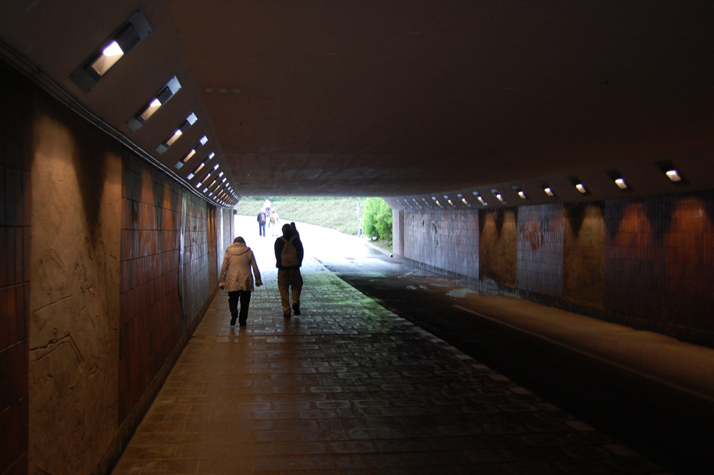 The pedestrian and cycling tunnel that allows people to cross from the west side of town to the east, and vice versa.