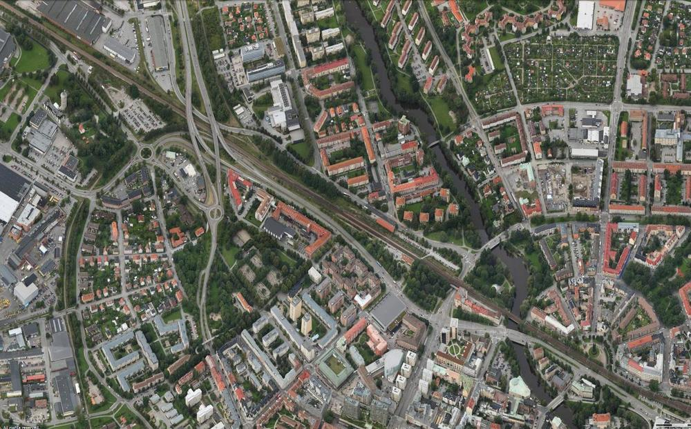 Our workshop area: the southern part of the traffic corridor in Örebro. In this picture the right side is north.