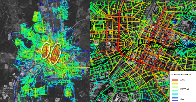 Analyses made by Spacescape, about the bicycle and pedestrian street network. Download their full report here (Swedish)