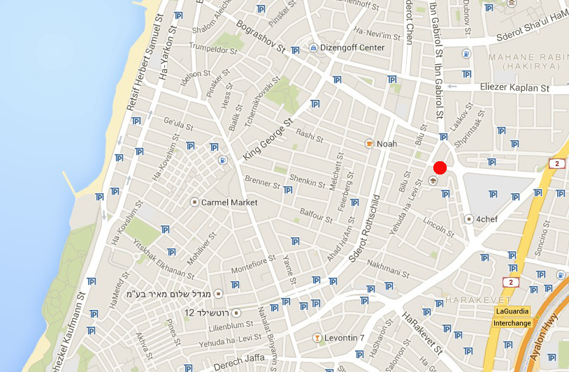 Tel Aviv city center. The jinxed spot is marked in red.
