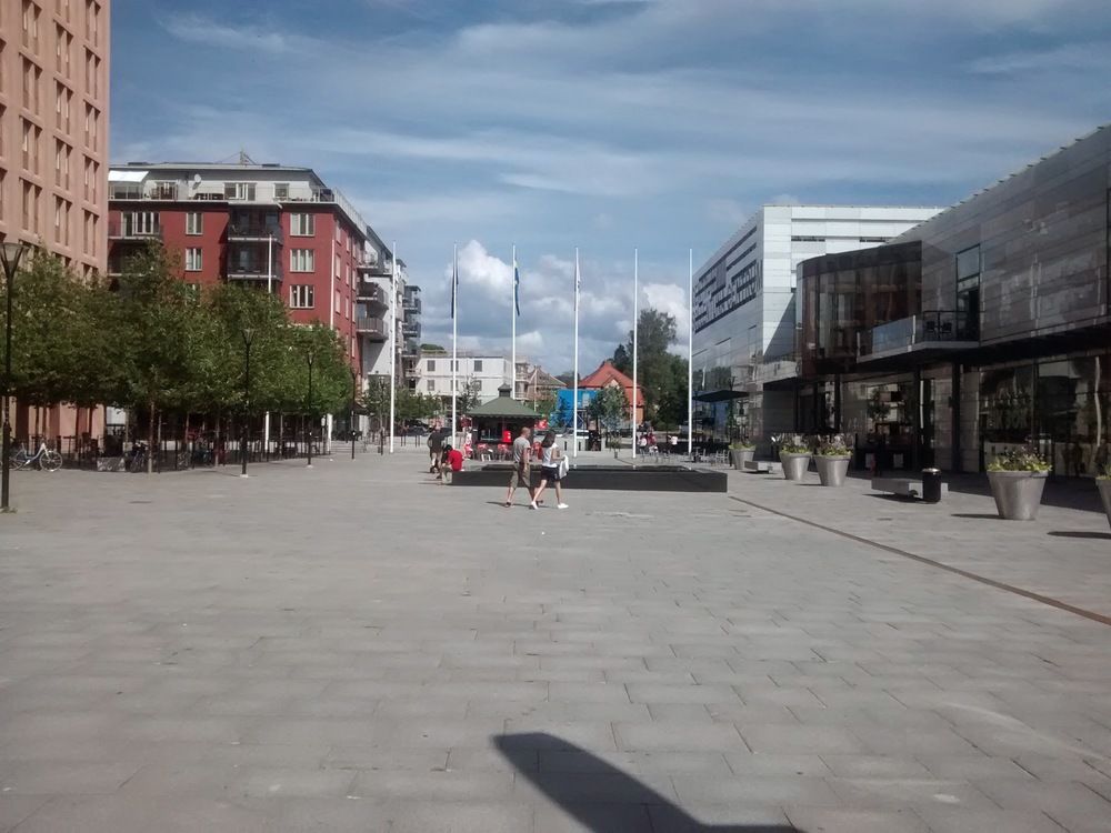 Sunny Sunday afternoon in front of Sollentuna station