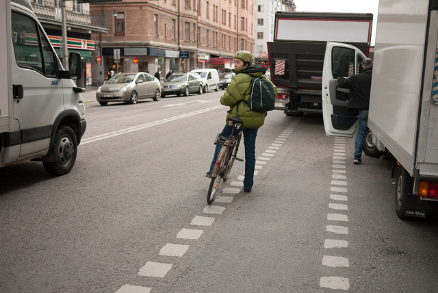 Parked on Bicycle lane, of course this also happens in the Netherlands, and it's annoying no matter where you are. Picture by Jeroen Wolfers, licensed under Creative Commons