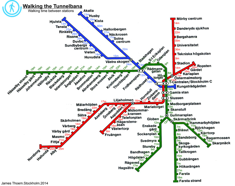 Walking distances from station to station along the entire Tunnelbana network by James Thoem