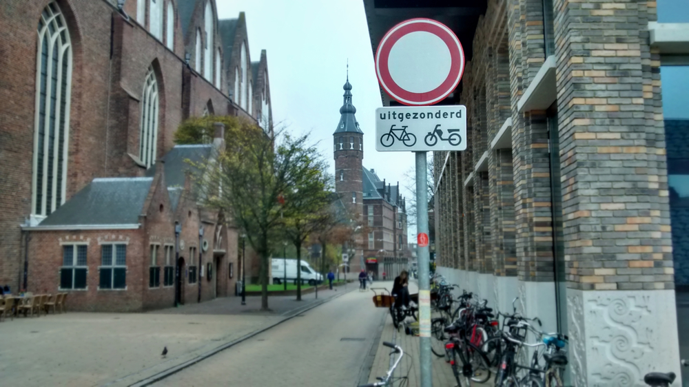 No Entrance, except of bicycles and mopeds. Groningen, the Netherlands. Picture by Lior Steinberg.