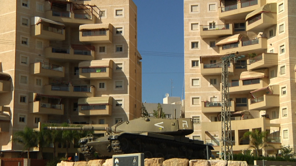 A tank standing as a memorial in a roundabout in Be'er Sheva