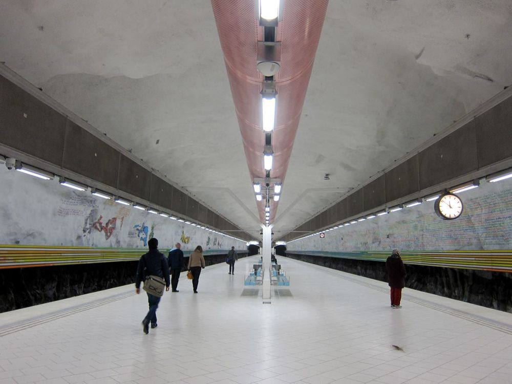 Subway art at the Rissne Station. Artists: Madeleine Dranger & Rolf H Reimers. Photo: James Thoem.