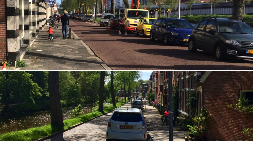 Hoornsediep (top) and Noorderbinnensingel, Groningen, the Netherlands. The location of cars makes a big difference.