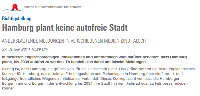 "Hamburg's official statement: ""Hamburg is not planning car-free city""."