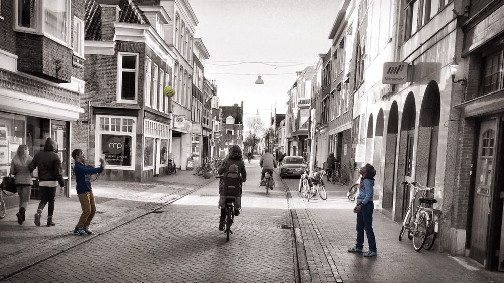 Children playing ball in the city center of Groningen , the Netherlands. Picture by: Lior Steinberg