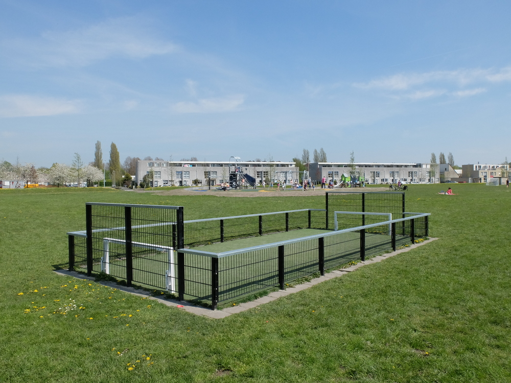 The new panna football court in De Hunze, Groningen, the Netherlands. Picture by: Lior Steinberg
