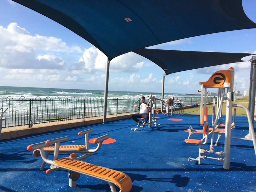 One of several outdoor gyms on Tel Aviv's beaches