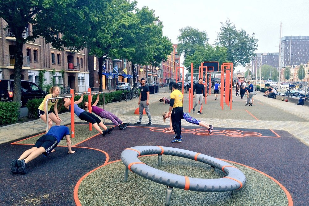 Play equipment can be used to do sport.
