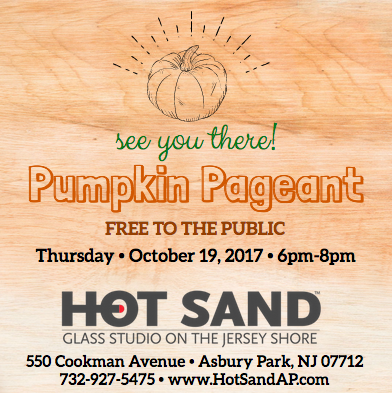 You're invited to our  Hot Sand AP  Pumpkin Pageant happening Thursday October 19, 2017 from 6pm-8pm. FREE to the public and fun for all ages! Enjoy falltastic snacks, harvest cider, glassblowing pumpkin demos, and a pumpkin patch full of glass magic all colors shapes and sizes ready to pick! Watch the video below and we'll see you there!