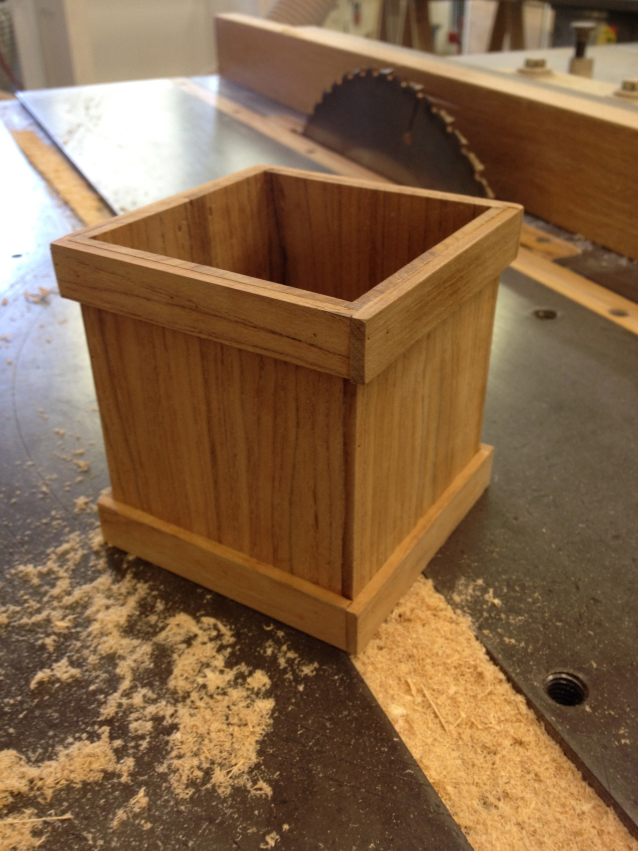 much needed (nearly) instant gratification of the half hour project: scrap teak mini planter box