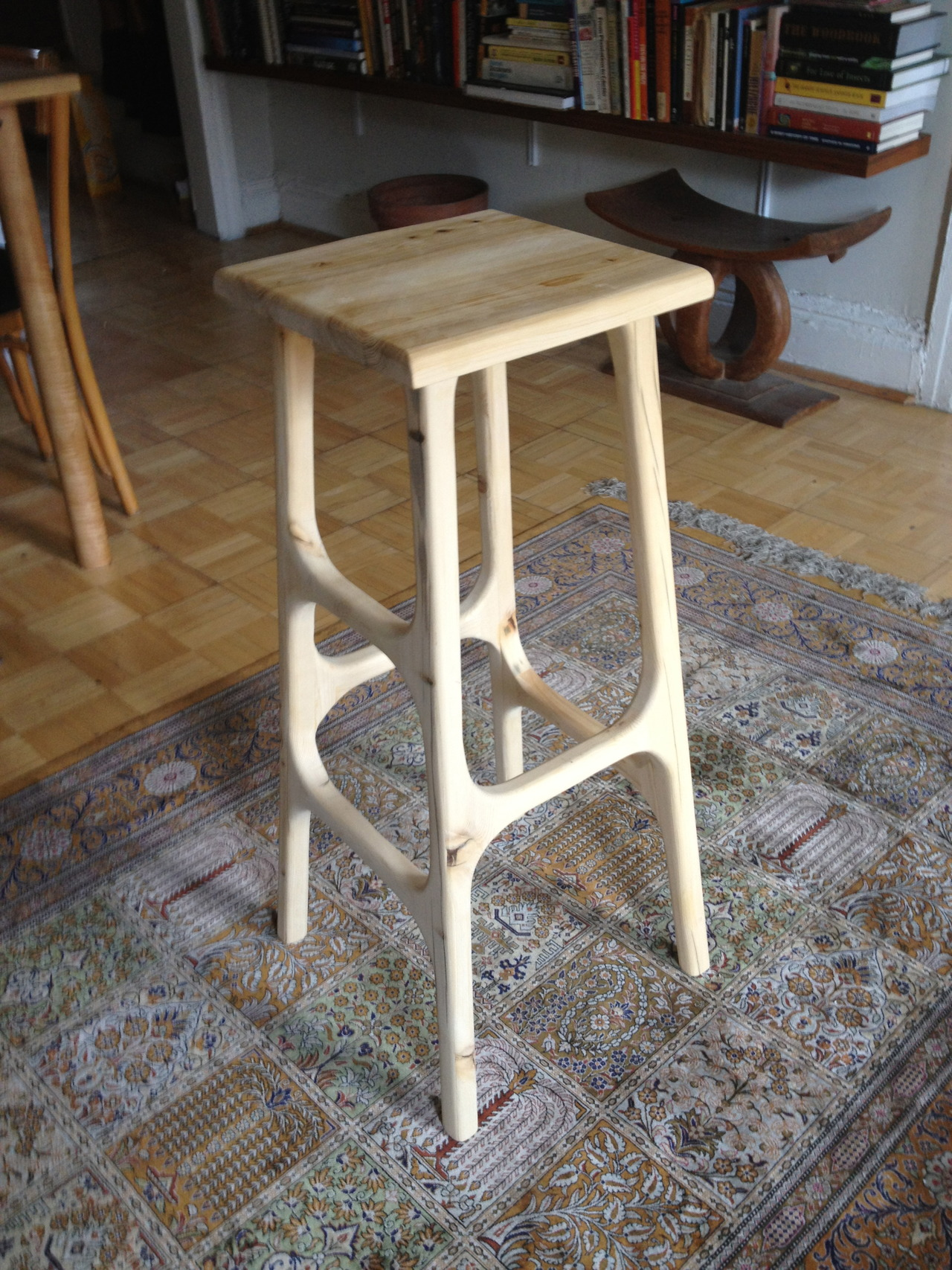 stool prototype, in water tower cedar