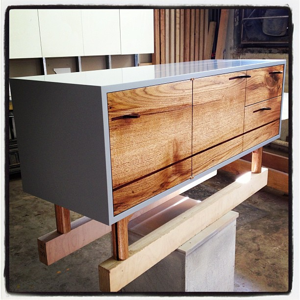 Butternut & rosewood credenza, in grey lacquer (Taken with Instagram)