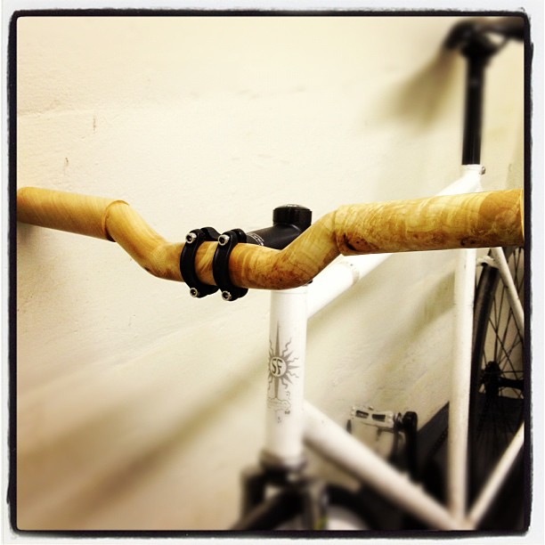#woodenhandlebars hand carved from burled and figured maple. Expect a numbered series to drop in early spring, preorders available  www.bienhechobklyn.com  #risers #custombikeparts
