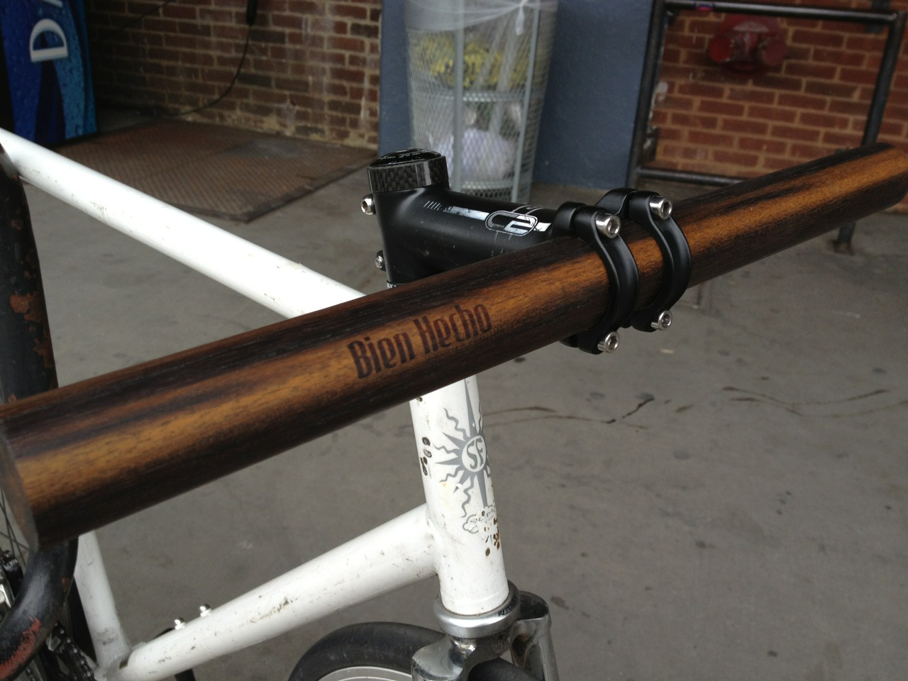 The latest iteration of bike handlebars: landfill rescued Coney Island boardwalk wood
